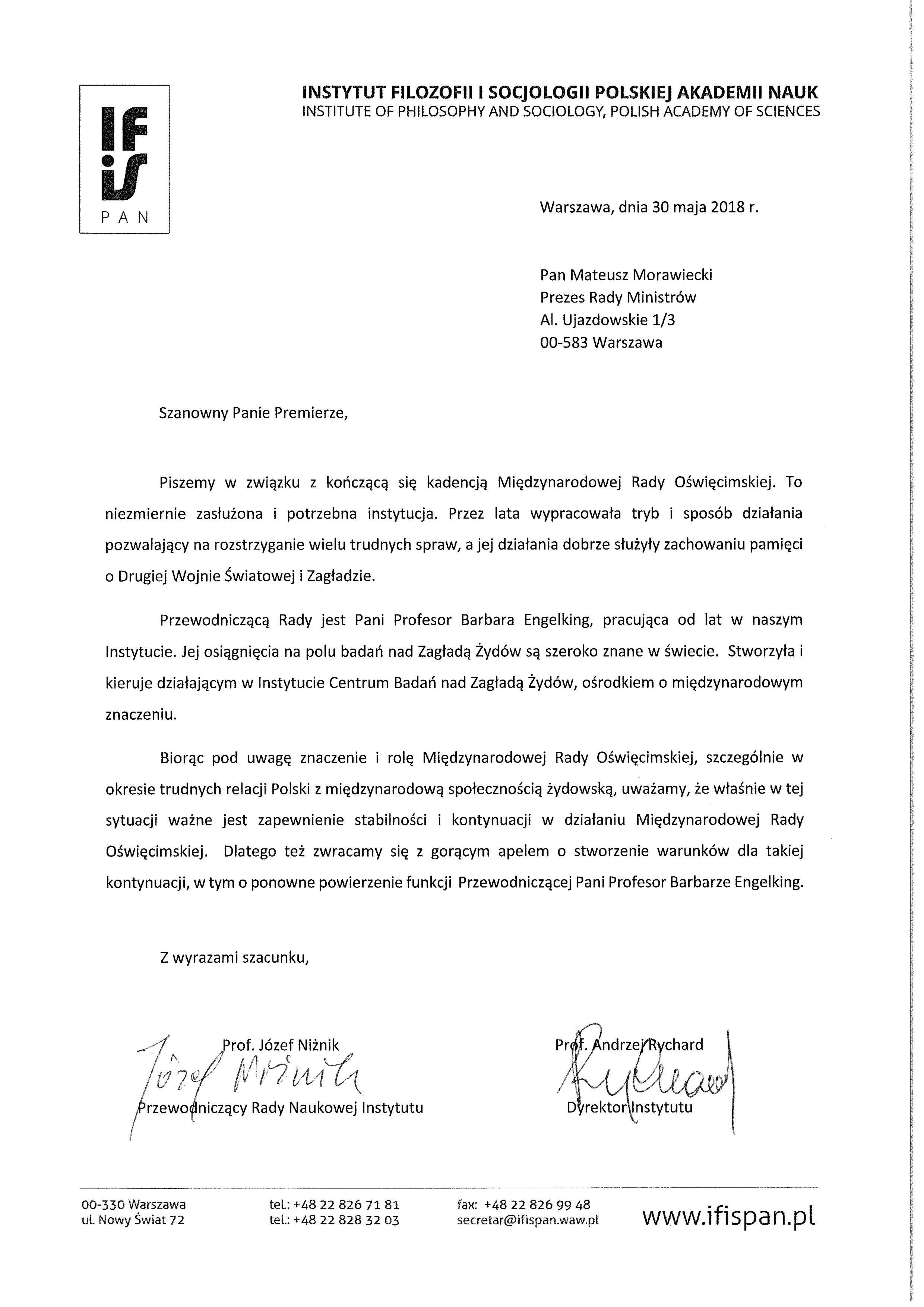 List w sprawie MRO
