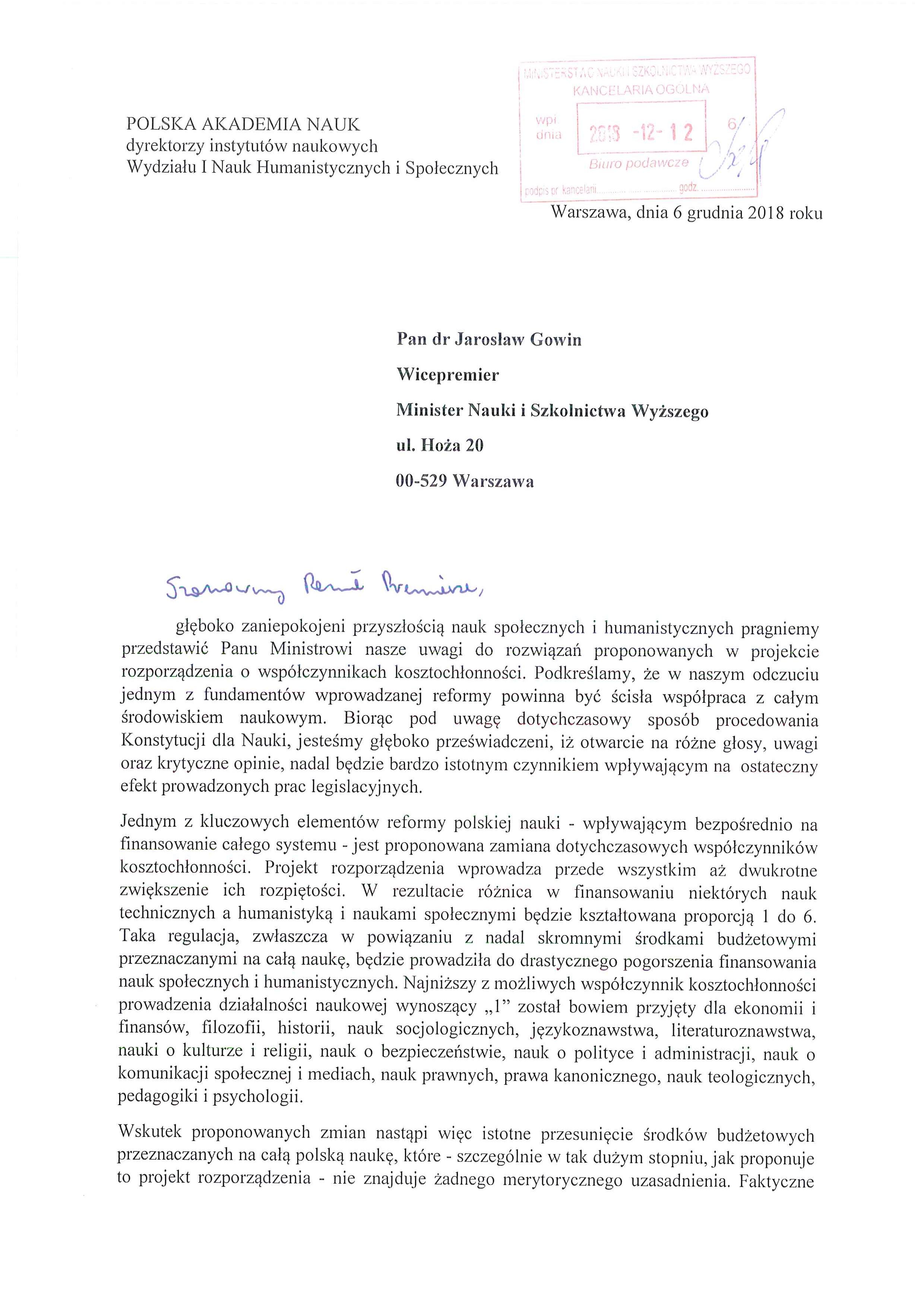 list protestacyjny do Ministra Gowina_Strona_1